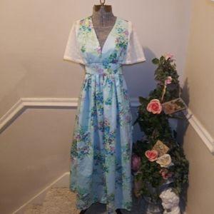 EUC Vtge 70's Handmade Blue Floral Boho Long Dress
